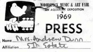 FE press pass, Woodstock music festival, 1969