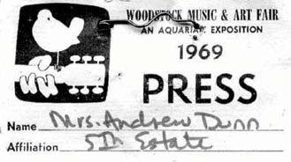 FE press pass, Woodstock music festival, 1969