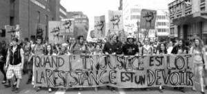 March during Quebec student strike, 2012