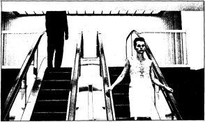 Drawing of generic figures on ascending and descending escalators