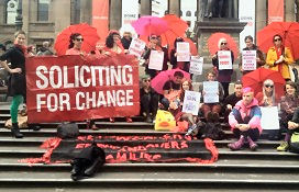 Participants at the Red Umbrella Rally, Festival of Sex Work, Melbourne 2013