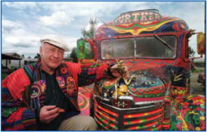 "Ken Kesey in 1997, with his bus ""further"""