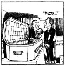 Cartoon, Musak installed in coffin