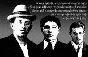 Renzo Novatrore, Italian individualist anarchist and anti-fascist militant with his comrades, Filipi and DiGiovanni, circa 1921.