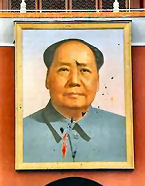 Paint-bombed poster of Mao Tse-tung