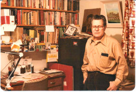 Federico, 1981, in his Windsor home with part of his anarchist archive.