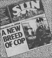 Image of the Sun front page featuring article, A New Breed of Cop