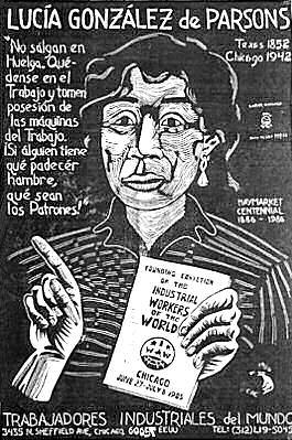 Lucía González de Parsons by Carlos Cortez (Linocut, 1986 Chicago, 90 x 61 cm)