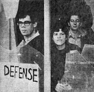 photo, anti-war committee windows smashed, Detroit, 1966