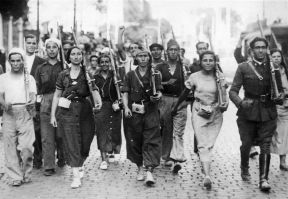 Photo: The Popular Militia of Saragosa form in the streets of Spain to fight fascism., 1936