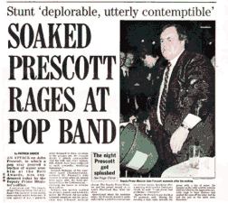 "photo, newspaper page, ""Prescott rages at pop band"""