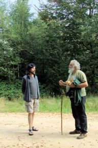 Author Jesús Sepúlveda with anarchist rural activist Sales Santos-Vera in the Basque forest, 2014.