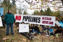 Protesters rally against the proposed Kinder Morgan oil pipeline in Briish Columbia in 2014.