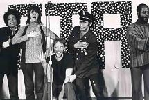 Jane Fonda, Donald Sutherland and other entertainers performing in FTA, a satire on the army & Vietnam war.