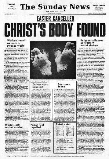 Easter Cancelled, Christ's Body Found, image of newspaper parody, issue 271, Fifth Estate