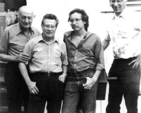 (left to right) Attilio Bortolotti, Federico Arcos, David Watson, Fredy Perlman (Michigan, June 8, 1985)