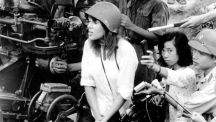 Photo, Jane Fonda at anti-aircraft emplacement, Hanoi, North Vietnam