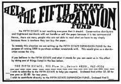 Poster image, Help the Fifth Estate Expansion Fund, July 1967