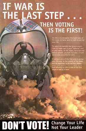 Poster image: If War is the Last Step... Then Voting is the First!