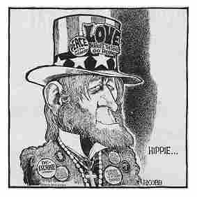 Uncle Sam as hippie, R. Cobb cartoon