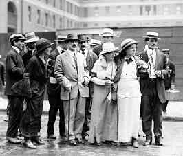 Alexander Berkman (with cane) with comrades including Becky Edelson and Louise Berger. Anarchists 100 years ago dressed up a little more than today.
