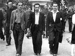 photo of young Spanish anarchists, 1936. Left to right: Raúl Carballeira, Felipe Bayo, Germinal Gracia (Víctor García)