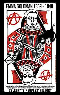 An example of a Just Seeds Poster by Ben Rubin (Emma Goldman depicted as Queen of circle-A in a deck of playing cards)