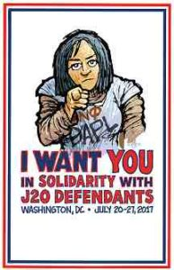 """poster image with DAPL water defender: """"I want you in solidarity with J20 defendants"""""""