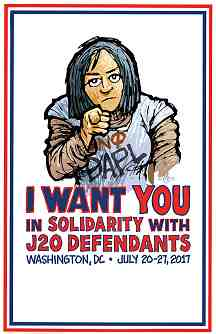 "poster image with DAPL water defender: ""I want you in solidarity with J20 defendants"""