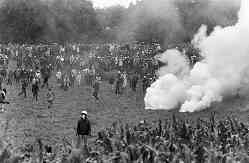 photo, police attacking anti-nuclear protesters, Creys-Malville, France, July 31, 1977