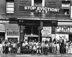 photo, residents of International Hotel, San Francisco, protesting eviction, 1977