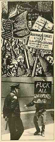 "Anarchy then and now: Above, Haymarket 1886. Below, Chicago Anarchist Gathering, May 1986. By the way, that's ""Workingmen of all tongues unite."" Photo: S. Izma"