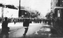 photo, anarchist street march during 1989 conference, Berkeley, U.S.A.