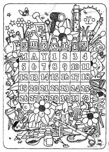 May 1968 calendar, back cover graphic, black outlines, designed to be colored in - Issue 53, May 1-15, 1968