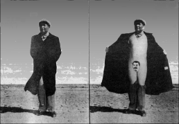 "A flash of insight into Maoist ""Correct Thought"". Two photos of Mao, the one on the left shows him in a trenchcoat; the photo on the right shows him pulling back the coat to expose himself. Instead of genetals there is an image of Josef Stalin."