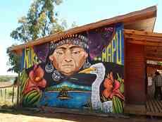 Mural at bilingual elementary school Kom Pu Lof Ñi Kimeltuwe in Mapudungun
