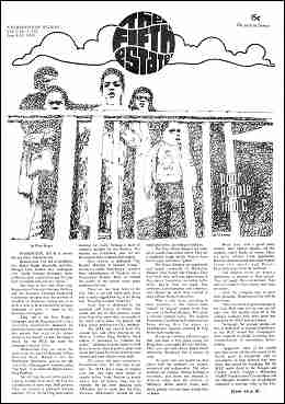 "Cover image, Issue 55, June 4-18, 1968. Drawing shows people behind a fence, with the inscription, ""Poor People in D.C., which is the title of the article that begins on p. 1 below the drawing."