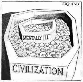 "R. Cobb cartoon showing an octagonal container filled with uniform spheres with identical, schematized human facial attributes. It bears the label ""Civilization."" Within this container is a pentagonal container with similar schematic figures. It is labeled ""Mentally Ill."""