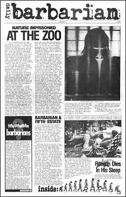 Cover image, Daily Barbarian insert, Issue 316, Spring, 1984 - Fifth Estate Magazine
