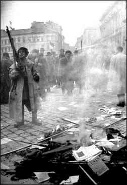 photo shows armed insurgents burning Communist Party literature, Hungary, 1956