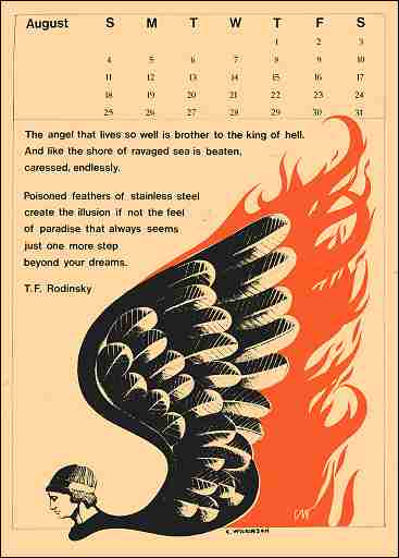 Calendar for month of August, 1968; text is reproduced in Back Page Text