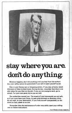 Poster shows a distorted, grainy TV image of a newscaster, probably Edward R. Murrow. Text below image is rendered on this article page.