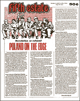 "Cover image, Issue 304, December 31, 1980, Fifth Estate Magazine, includes the article ""Poland on the Edge."""