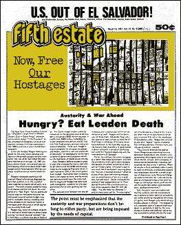 Cover image, Issue 305, March 18, 1981. Headlines read US Out of El Salvador! and Hungry? Eat Leaden Death