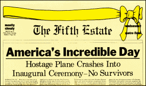 Image of mock newspaper front page featuring Americ's Incredible Day as main story