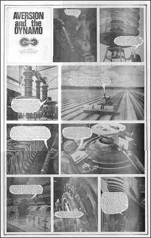 Aversion and the Dynamo (9-panel photo essay with cartoon speech balloons). Panel descriptions included in page text.