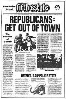 """Small reproduction of the front page of Fifth Estate special edition. Headlines read, """"Republicans Get Out of Town"""" and """"Detroit G.O.P. Police State"""""""