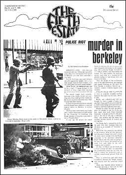 Cover image, Issue 80, May 29-June 11, 1969. Features photo of National Guardsmen aiming rifles at student protesters in Berkeley, 1969