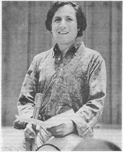 photo, Dr. Eugene Schoenfeld speaking at Community Arts Auditorium, May 28, 1969