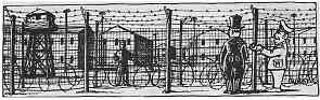 Drawing shows a military officer speaking with a politician outside a barb-wire enclosure with buildings in the background.